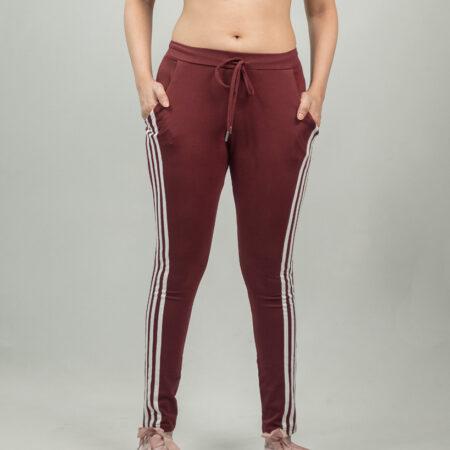 sandshark-maroon-ladies-White-Lines-jogger-